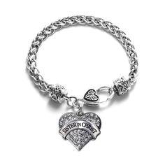 Sister in Christ Pave Heart Charm Bracelet