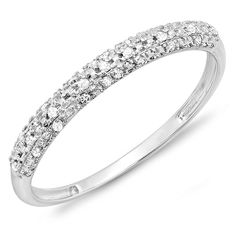 0.10 Carat (ctw) 14k Gold Round Diamond Ladies Anniversary Wedding Band Stackable Ring 1/10 CT *** See this great image  : Wedding Rings Jewelry