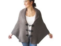 Plus Size Hand Knitted Brown Poncho with Leather Rope by by afra