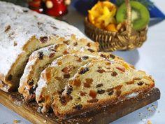 Drezdai stollen (drezdai kalács) recept elkészítése - 1. A mandulát mazsolányi darabokra vágjuk, egy tálba szórjuk. A mazsolát, az oranzsátot, a ci... Banana Bread, Food And Drink, Sweets, Baking, Drinks, Yum Yum, Cakes, Drinking, Beverages