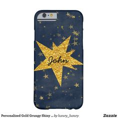 Personalized Gold Grungy Shiny Glitter Case Barely There iPhone 6 Case