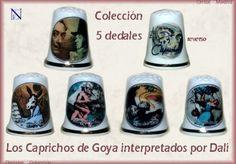 """LOS CAPRICHOS DE GOYA INTERPRETADOS POR DALÍ Colección de 5 dedales, cuatro de los cuales están inspirados en los grabados que Salvador Dalí realizó sobre la obra de """"Los Caprichos"""" de Goya."""
