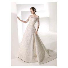 Off-The-Shoulder Long Sleeved Satin Lace Wedding Dress