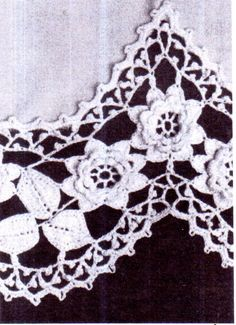 PDF Vintage Darling Ladies Lace 'Roses' Apron by TheAtticofKitsch Irish Crochet Patterns, Crochet Borders, Crochet Motif, Knit Crochet, Vintage Knitting, Vintage Crochet, Vintage Sewing, Embroidered Flowers, Floral Embroidery