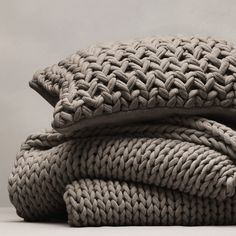 Buy Bedspreads & Cushions Collection > Bedspreads & Cushions Collection > Chunky Hand Knit Throw & Cushion Cover - Smoke from The White Company