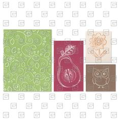 """@BasicGrey LLC Item Code: XSX-S65-7260 Collection: Sizzix Category: Textured Impressions  Name: Flower, Owl & Pear Set by BasicGrey  Description: Each set of Embossing Folders contains two large A2 folders, measuring 5 3/4"""" x 4 1/2"""" x 1/8"""", these Embossing Folders showcase the deliciously different style of BasicGrey. Textured Impressions Embossing Folders are for use with the Texture Boutique, BIGkick, Big Shot and Vagabond machines only (used with a pair of Cutting Pads and the machine's…"""