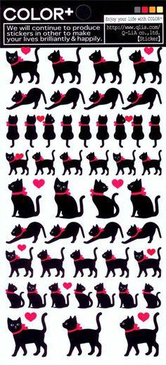 kawaii cute animals black cat stickers by Q-Lia 2