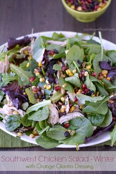 This Southwest Chicken Salad Winter with Pomegranate and Orange Cilantro Dressing, is the final season for these delicious salads. Paleo Chicken Salad, Greek Chicken Recipes, Chicken Drumstick Recipes, Recipe Chicken, Quick Easy Salad Recipe, Cena Paleo, Southwest Chicken, Southwest Salad, Easy Salads