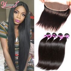 7A Lace Frontal Closure With Bundles Brazilian Virgin Hair Straight With Closure Human Hair Lace Frontal Bundles Weave Free Part <3 Click the image for detailed description