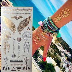 New Environment-Friendly Temporary Gold Tattoo Silver Metallic Tattoos Flash Body Art Tatto Henna Tatouage Taty