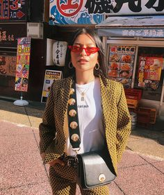 @yasminsuteja in Tokyo wearing the Le Skinny and carrying the South Beach Shell Shoulder Bag  both via poppylissiman.com #poppylissiman…