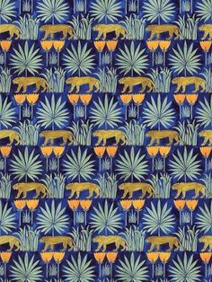 """How to do a contemporary Arts & Crafts interior - 'Lioness and Palms' wallpaper (midnight), for a roll, from (link url=""""https:// -"""