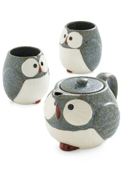 Oh so adorable!    Owl Warm and Cozy Tea Set in Stone - Grey, Brown, White, Owls, Eco-Friendly, Mid-Century
