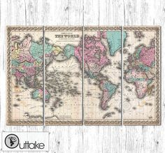 "SALE 10% OFF Antique World Map - Canvas Art Print Ready to Hang -  LARGE on 4 panels -  31.5"" x 47"""