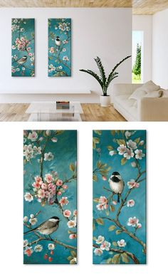 Online shop for decorative paintings, Bird Painting Acrylic, Watercolor Art, Bird Art, Canvas Art Prints, Painting Inspiration, Flower Art, Artwork, Tree Wall Murals, Design