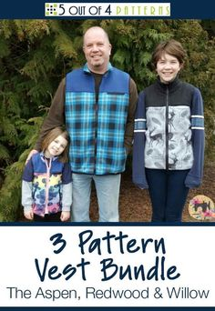 Our 3 pattern vest bundle contains our women's Aspen, our men's Redwood and our children's Willow pattern. Now you can sew the perfect transitional piece for every member of your family! Fleece Patterns, Sewing Patterns Free, Vintage Patterns, Fall Sewing, Sewing Magazines, Willow Pattern, Vest Pattern, Fleece Vest, Diy Clothing