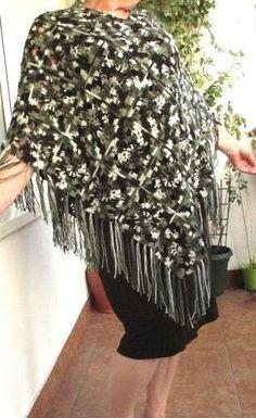 Camo granny square crochet poncho