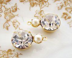 11mm Glass Round Crystal Rhinestones & Ivory Pearl 1 Ring Drop Settings Rhinestone Charms - 2 by alyssabethsvintage on Etsy