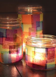 Faux Stained Glass Recycled Jars. Easy tutorial! cute for the kids at Easter or Christmas