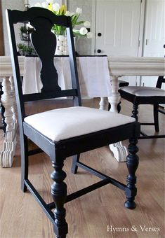my 40 yard sale dining room table amp chairs, chalk paint, painted furniture, Black paint and drop cloth upholstered seats for the chairs