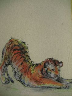 Tiger Stretching, 2011 Oil pastel on paper.