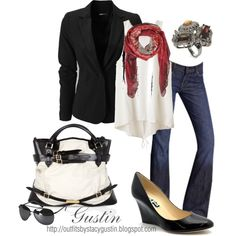 black blazer, created by stacy-gustin on Polyvore......someone help me thrift store this look and find me a place to where it.....PLEASE????