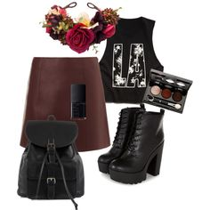 A fashion look from December 2014 featuring Forever 21 t-shirts, T By Alexander Wang mini skirts and NLY Accessories backpacks. Browse and shop related looks.