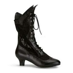 Lace Victorian Boots by Pleaser Shoes. Victorian style lace-up women's boots with lace and PU upper. This is a wide width boot with a lace-up front and side zipper. Wide Width Victorian Boots by Pleaser Shoes Black Lace Boots, Lace Ankle Boots, Black Heels, Shoe Boots, Women's Shoes, Calf Boots, Ankle Booties, Lace Shoes, Goth Shoes