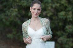 Plus size moss green wedding bridal shrug light green by noavider, $50.00