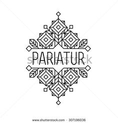 art deco monochrome luxury antique hipster minimal geometric vintage linear vector frame , border , label for your logo, badge or crest for club, bar, cafe, restaurant, hotel, boutique - stock vector