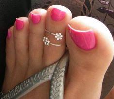 Pink Pedicure, Manicure And Pedicure, Pedicures, Pretty Toe Nails, Pretty Toes, Long Toenails, Nice Toes, Hot Pink Nails, Foot Pics