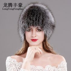 92fdd26f1d9 Natural Fox Fur Hats for Women Real Fur Beanies Cap Knitted Hats Russian  Winter Thick Warm