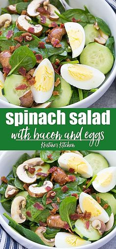 The best simple spinach salad with bacon and eggs. The vinaigrette dressing is tangy and flavorful! This easy spinach salad recipe is the perfect healthy side dish to go with any meal! Also great as a main dish salad for lunch or a light dinner. Simple Spinach Salad, Bacon Spinach Salad, Spinach Salad Recipes, Chicken Salad Recipes, Spinach Salad Dressings, Dressing For Spinach Salad, Vegetable Salad Recipes, Simple Spinach Recipes, Spinach Meals