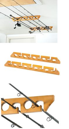 Rod Cases Tubes and Racks 81473: Horizontal Fishing Rod Rack Ceiling Storage Holder Mount Pole Wall Garage Wood BUY IT NOW ONLY: $31.99