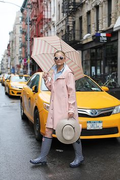 Blair Eadie of Atlantic-Pacific shares a pink, feminine Stutterheim rain outfit as well as some of her favorite rain looks from the past eight years! Rainy Outfit, Rainy Day Outfit For Spring, Rainy Day Fashion, Outfit Of The Day, Outfits For Rainy Days, Pink Raincoat, Raincoat Outfit, City Rain, Jackets