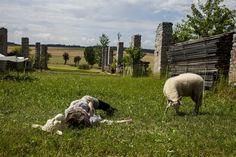 """Das Lamm und der Wolf oder Tanz mit der Schafsfrau. Aus der Serie """"Kein Wässerchen trüben können"""" oder """"Der Wolf findet leicht eine Ursache wenn er das Schaf fressen will"""" Performative Intervention..."""