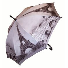 Full Size Paris Umbrella -   This umbrella features the Paris skyline in black and white including the iconic Eiffel Tower. Black curved wood handle, shaft and tips. Push button automatic opening and manual closing with flexible fibreglass frame.