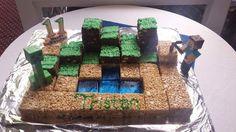 """Minecraft Rice Krispie Treat """"cake"""""""