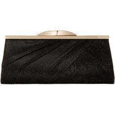 Jessica McClintock Sloan Metallic Lurex Clutch (Black) Clutch Handbags ($40) ❤ liked on Polyvore featuring bags, handbags, clutches, black, chain strap purse, jessica mcclintock purse, jessica mcclintock clutches, imitation handbags and kiss-lock handbags