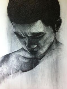 Self portrait...  Media: charcoal on canvas Size: 140x160 cm