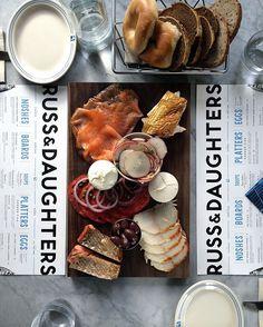 The Hattie Platter with Russ & Daughters Bagels & Bakery bread basket…