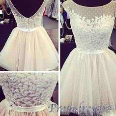 Cute lace short prom dress, junior prom dress 2016, handmade white tulle evening dress for teens http://www.promdress01.com/#!product/prd1/4210492651/white-round-neck-tulle-mini-bridesmaid-dress%2Cgown