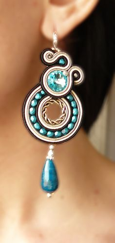 Soutache Earrings Handmade Earrings Hand Embroidered