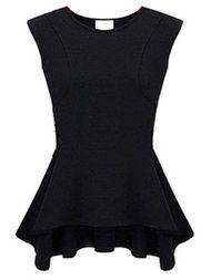 Hot Slae Ruffle Hem Tight Waist Sleeveless T-Shirt