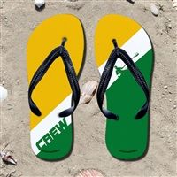 Single Stripe Yellow/White/Green Flip Flops - Kick back after a race with these great flip flops! Fun and functional flip flops for all rowers and fans.