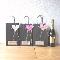 Items similar to Wine bottle paper bag personalised for Hen party black recycled paper gift bag goodie bag gift wrap on Etsy Paper Gift Bags, Paper Gifts, Diy Party Bags, Classy Hen Party, Hen Party Favours, Decorated Gift Bags, Farewell Gifts, Christmas Bags, Goodie Bags