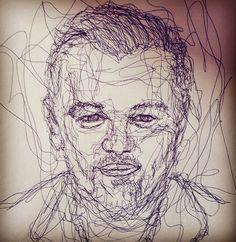 Scribble Portrait of Leonardo Dicaprio Leonardo Dicaprio, Portrait Art, Scribble, Doodle