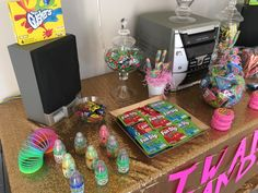 90s candy table. Baby bottle pops. Fun dip. Gushers. 90s candy bar. Ring pops. Bubble tape. Poprocks. 90s party 90s girl #90s nostalgia 90s kids all things 90s throwback birthday flashback nickelodeon