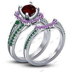 Ariel Disney Princess Women Bridal Engagement Ring Multi Color Stone 925 Silver #Affoin8