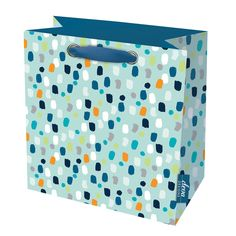 Pluto cyan large gift bagThe Pluto cyan large gift bag is a stylish mosaic design that coordinates well with similar or contrasting colours. With 2 dark blue ribbon carry handles. Size: 280 x 280mm x 140mm when open Manufactured by Deva Designs LtdCards and Gift Wrap